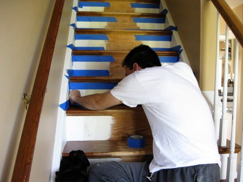 refinished_stairs4_applying tape