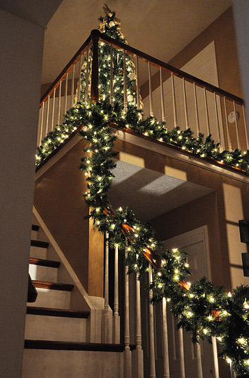 My banister is lit i 39 m thinking of calling it lindsay lohan for How to decorate a banister